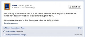 Facebook Aldi UK